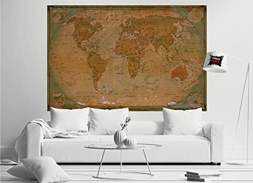 GREAT ART Poster � World Map Antique Style � Picture Decoration Globe Ancient Vintage Card Used Look Atlas Map Old School Image Photo Decor Wall Mural (55x39.4in - 140x100cm) Photo #2