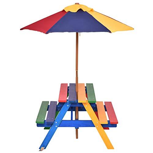 COSTWAY Juego de Mesa y Banco con Sombrilla para Niños Asiento de Camping para Jardín Exterior Picnic Hogar Playa