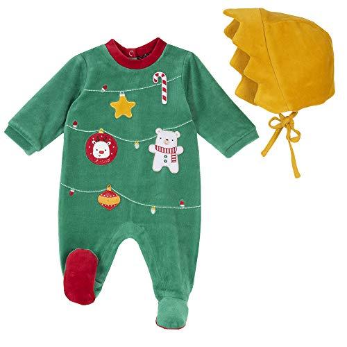 Chicco Set con Tutina con Apertura entrogamba + Cappello Pigiamino per Bambino e Neonato, Verde, 062 Unisex-Bimbi