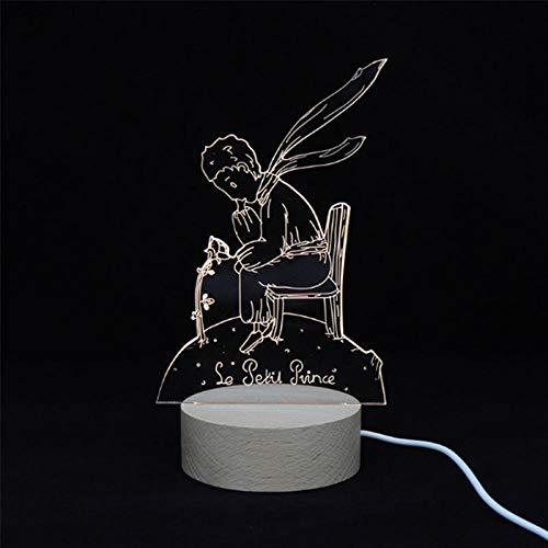 3D-Illusionslampe führte Nachtlicht Der kleine Prinz Anime Holzsockel für Kinder Home Decoative Geschenke Spielzeug