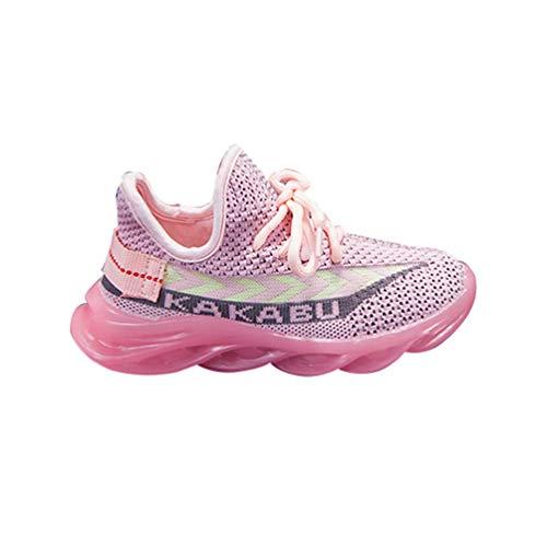 YiiJee Kinder Jungen Mädchen Feste atmungsaktive Sport Laufschuhe Turnschuhe Pink EU 28
