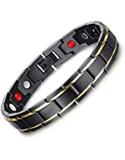 Titanium steel health bracelet unique style magnetic men hand ring personality wristband black&gold