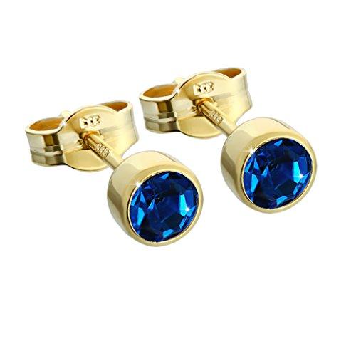 NKlaus paio di orecchini a stallone in oro 333er 4,50mm zirconi blu scuro donne uomini bambini 6602