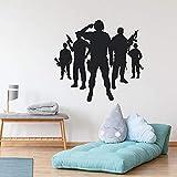 Pegatina de pared de estilo militar, pegatina de pared de estilo militar, pegatina de vinilo creativa 3D para pared, calcomanía mural, decoración artística