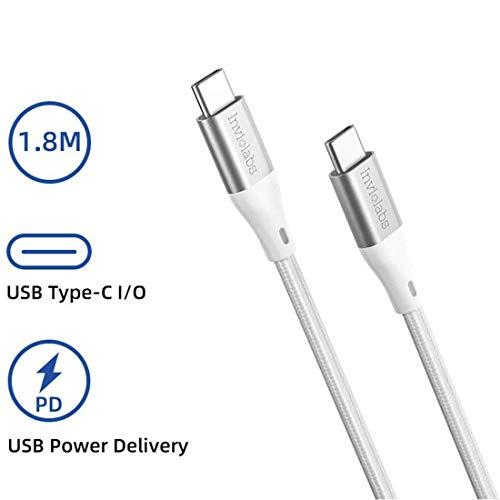 Inviolabs USB C naar USB C kabel, 60W laadkabel nylon gevlochten USB type-C snellaadkabel voor Samsung Galaxy Note 10 Plus A80 en universele telefoon, MacBook, iPad, laptop, 6 ft zilver.