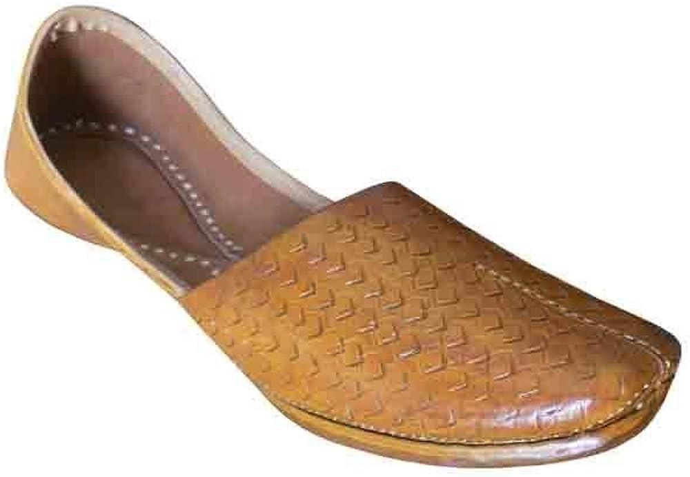 Kalra Creations Men Shoes Indian Handmade Leather Flip-Flops Punjabi Brown Jutties