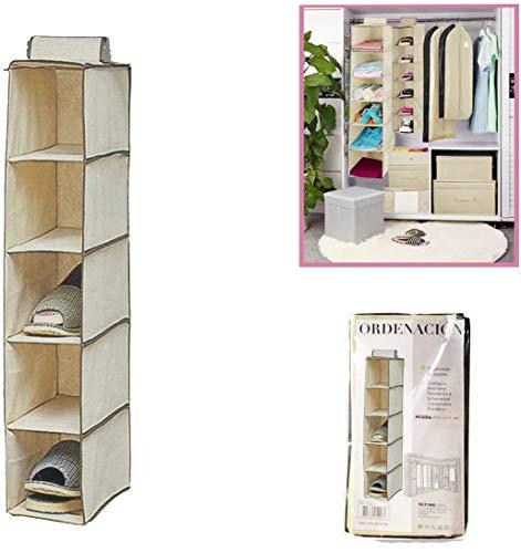 Dabuty Online, S.L. Organizador para Colgar en el Armario u hogar con 5 estantes. Medidas 15 x 30 x 70 cm. Zapatero, Organizador de Ropa.