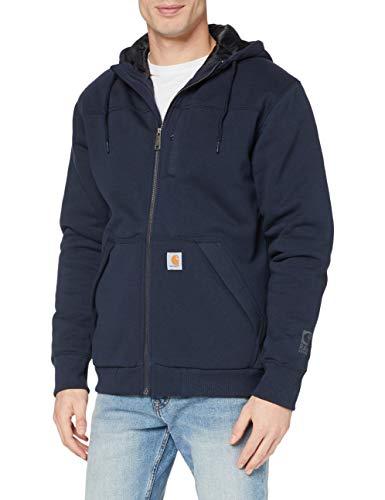 Carhartt Men's Rain Defender Rockland Quilt Lined Hooded Sweatshirt, new navy, X-Large