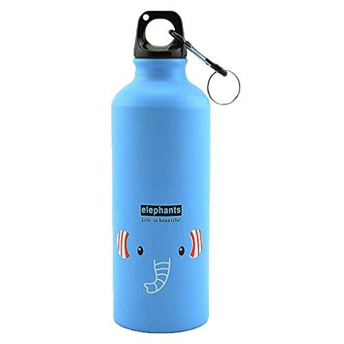 Bobury 500ml Animales encantadores al Aire Libre se Divierte la Botella portátil de aleación de Aluminio niños Botella de Agua de Dibujos Animados de Animales Patrón Caldera