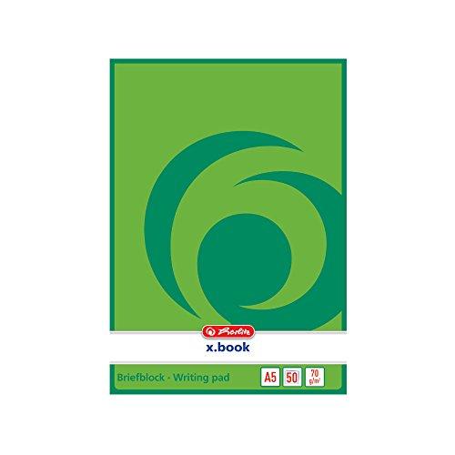 Herlitz 717504 Notizblock A5, blanko, 50 Blatt, weiß