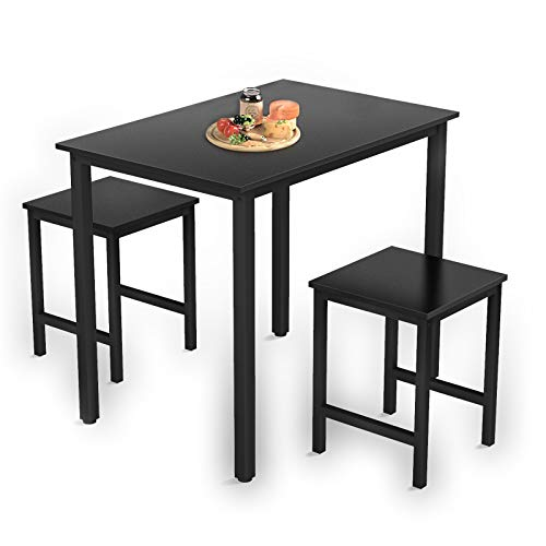 MOOSENG 3 Piece Dining Set Includes Coffee Two End Sofa Side Tables Perfect for Living Room Accent Furniture, Black
