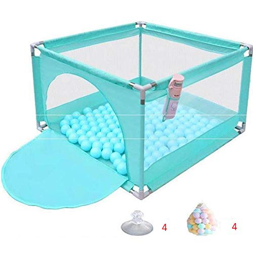 unknow 22 sq ft BlauMobile Laufstall mit Atmungsaktivem Netz,4 eckig Zaun Kinder für Kleinkinder Drinnen Und Draußen Spielen