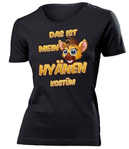 Hyänen Kostüm Kleidung 5259 Damen T-Shirt Frauen Karneval Fasching Faschingskostüm Karnevalskostüm Paarkostüm Gruppenkostüm Schwarz L