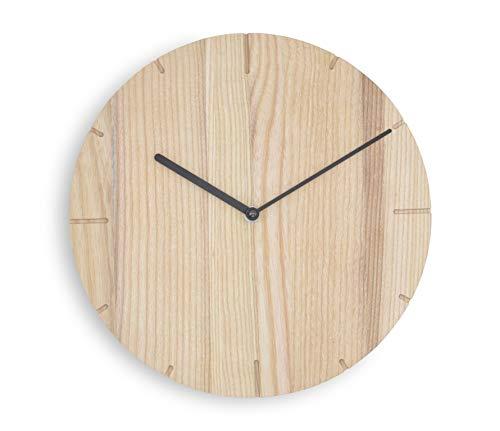 Natuhr Reloj de pared controlado por radio, madera maciza, purista, moderno (fresno sin tratar)