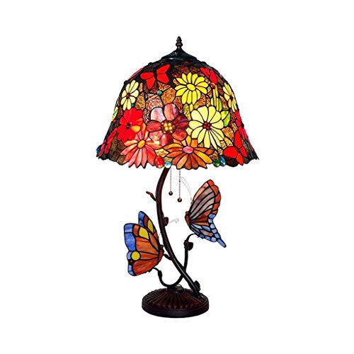 YXX Tiffany Style Table Lamp, Butterfly Night Light, Vintage Stained Glass Reading Desk Lamp for Bedroom Living Room, 16 inch Wide, 27 inch Tall, Home Art Deco