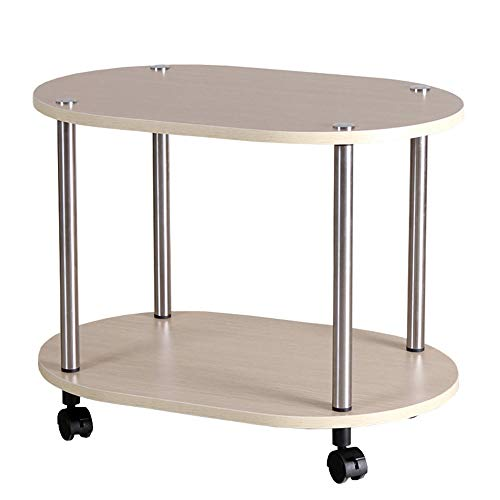 Houten bijzettafel, multifunctionele winkelwagen op 4 wielen, kleine salontafel & keukenwagen, rond, 60 * 40 * 46cm