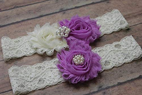 Piore Hochzeit Strumpfband Braut Strumpfband Spitze Andenken werfen Shabby Chiffon Rosette Hochzeit Garte, violett, One Size