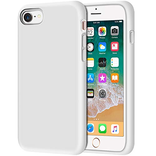 iPhone 8 Case, Anuck Non-Slip Liquid Silicone Gel Rubber Bumper Case with Soft Microfiber Lining Cushion Hard Shell Shockproof Full-Body Protective Case Cover for Apple iPhone 7/8 4.7' - White