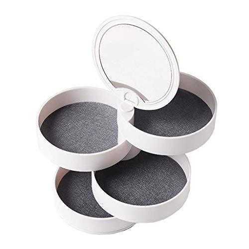 Schmuckkästchen Schmuckschatulle mit Spiegel Drehbar Schmuckaufbewahrung Organizer 4 schubladen für Ringe Ohrringe Halskette Armband Make-Up Runde Form (Weiß))