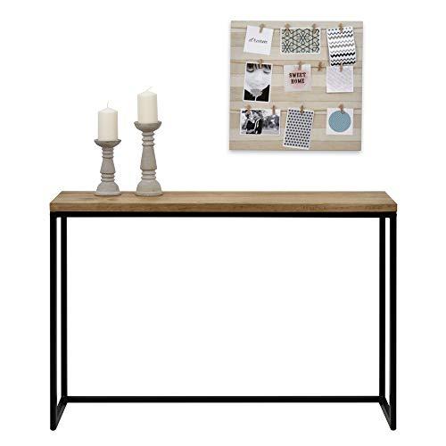 DS Dropshipping Table d'entree Console iCub Big Wood Industriel Vintage Bois 3cm et métal Noir 100x30cm. 80cm Haute