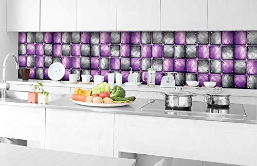 Zelfklevende keuken achterwand METALEN TEGELS 350 x 60 cm | Zelfklevende spatwand keukenfolie | Waterbestendige folie voor de keuken | PREMIUM KWALITEIT | Gemaakt in de EU