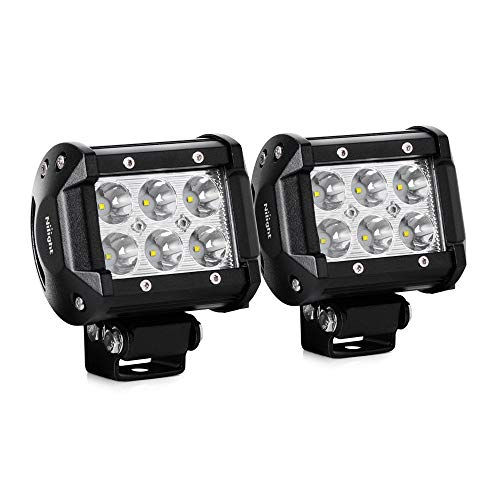 Nilight Led Light Bar 2PCS 18W 1260lm Spot Driving Fog Light Off Road Lights LED Pods for SUV Boat 4' Jeep Lamp,2 years Warranty