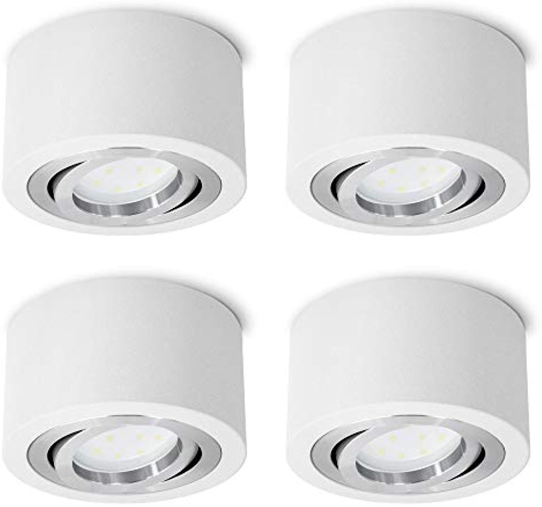 4 Stück SSC-LUXon flache LED Aufbauspots rund wei schwenkbar - mit LED 5W warmwei 230V - Spot Aufbau Deckenleuchte  90mm