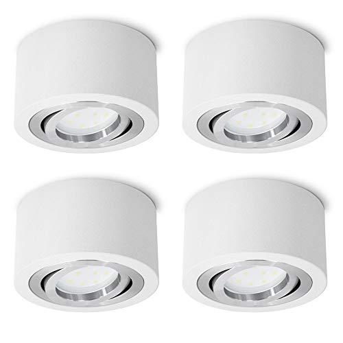 4 Stück SSC-LUXon® flache LED Aufbauspots rund weiß schwenkbar - mit LED 5W warmweiß 230V - Spot Aufbau Deckenleuchte Ø 90mm