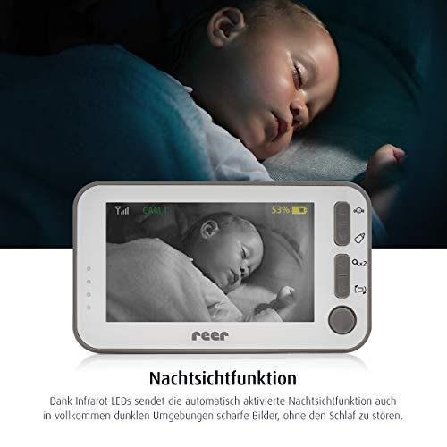 reer 80430 BabyCam Video Babyphone L, 300m Reichweite, 50 Grad Weitwinkel-Kamera, 4,3″ TFT Display, mit Bewegungs-Alarm, weiß - 4