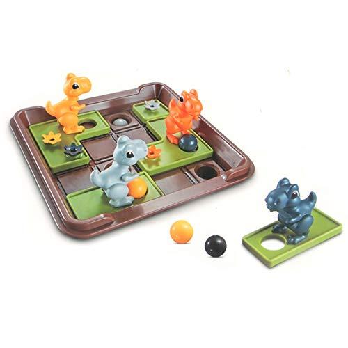BSTCAR Juego de mesa de rompecabezas, juego de mesa de ajedrez móvil de dinosaurio divertido juego de entrenamiento lógico juegos interactivos, promover la observación de los niños y la memoria