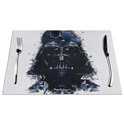 Eyliy Darth-Vader - Manteles individuales resistentes al calor, resistentes a las manchas, antideslizantes, lavables de PVC, 4 unidades