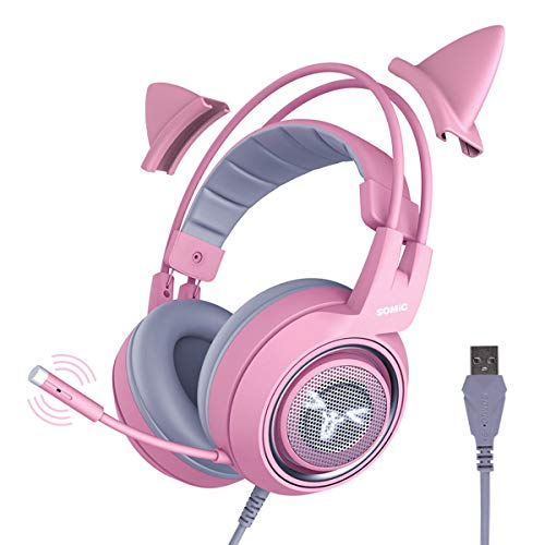 SOMIC G951pink Gaming Headset for PC, PS4, Laptop: 7.1 Virtual Surround Sound Detachable Cat Ear Headphones LED, USB, Lightweight Self-Adjusting Over Ear Headphones for Girlfriend Women