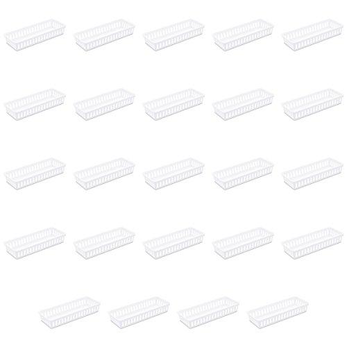 Sterilite 16078024 Slim Storage Tray, White, 24-Pack