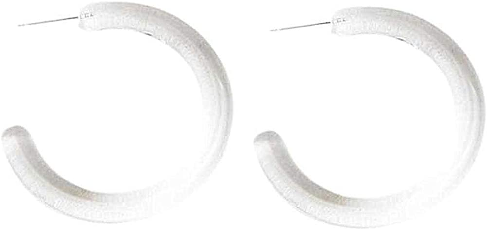 50mm Transparent Acrylic Circular Shape Charm Earrings for Women Girl's Acrylic Tube Hoop Earrings Transparent Big Round Circle Hoop Earring Jewelry