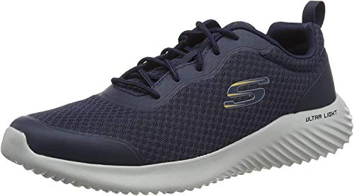 Skechers Bounder, Zapatillas para Hombre, Azul (Navy Mesh/Synthetic/Trim Nvy), 45.5 EU