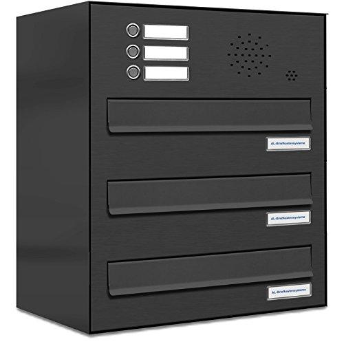 AL Briefkastensysteme 3er Briefkasten für Tür/Zaundurchwurf mit Klingel, in Anthrazit Grau RAL 7016, 3 Fach Briefkastenanlage Design modern