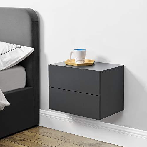 [en.casa] Wandschrank 40x29x30cm Wandregal Dunkelgrau Nachttisch Hängeregal mit 2 Schubladen Wandboard Wand-Schuhblade Nachtschrank