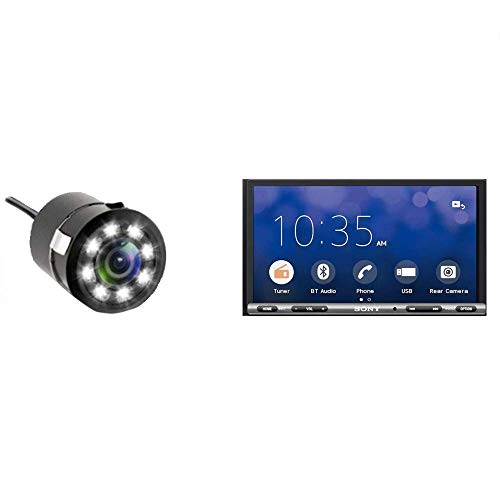 Sony Combo of XAV-AX3000 AV Receiver with Android Auto and Apple Car Play and ADEPTT LED Night-Vision Waterproof Car Rear View Reverse Parking HD Camera for (All Cars)
