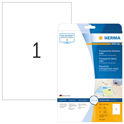 HERMA 4375 Wetterfeste Folien-Etiketten DIN A4 transparent (210 x 297 mm, 25 Blatt, Polyesterfolie, matt) selbstklebend, bedruckbar, permanent haftende Klebefolie, 25 Klebeetiketten, durchsichtig