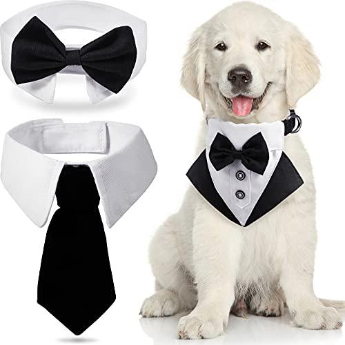 3 Stücke Formell Hund Smoking Hochzeit Hunde Bandana Set Enthalten Hund Krawatten Formell Haustier Krawatte Kragen Smoking Fliege Halsband für Kleine Hunde Katze Hochzeit Kostüme Geburtstag