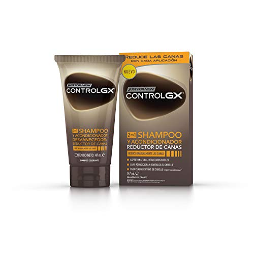 Just For Men, Control GX Champú + acondicionador. Reduce las canas gradualmente. Resultado natural. 147 ml