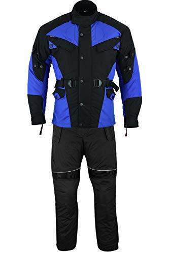 German Wear 2-teiler Motorradkombi Cordura Textilien Motorradjacke + Motorradhose, 52/L, Blau/Schwarz