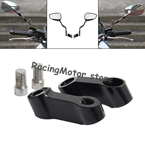 Black Bolts Size 10Mm Mirrors Extension Riser Extend Adapter for Yamaha Mt-09 Mt-07 Fazer Fz-09 V-Max 1700 Motorbike Accessories (Right Left Threaded)
