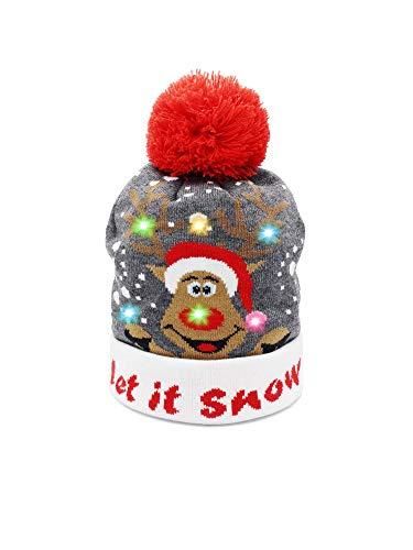 JAP Weihnachtsmütze mit Lichtern - Mütze mit Weihnachtslichtern - Rudolf - Lass es schneien