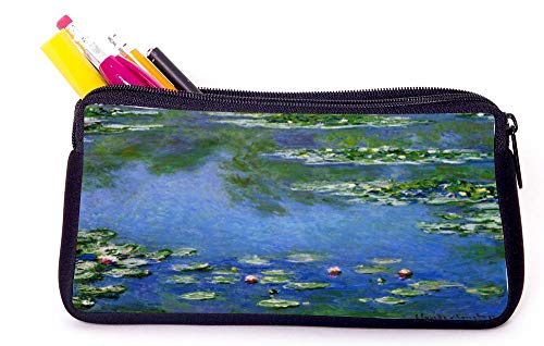 Claude Monet Wat Art Water Orange Pencil Case for School Supplies for Office Supplies, Gameboy DS, MP3, or Makeup Supplies