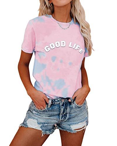 YOINS Damen T-Shirt Kurzarm Top Casual Rundhals Sommer Oberteile Cold Shoulder Ausgeschnitten Pulli Blusen Tee Tie dye-rosa M