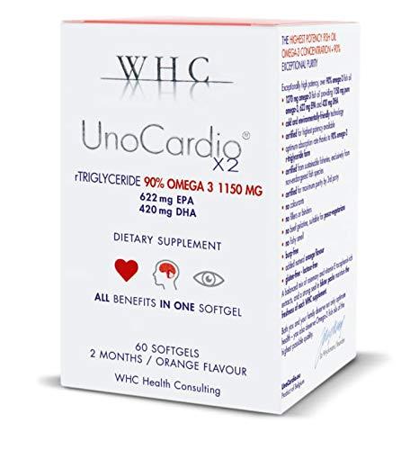 WHC UnoCardio X2 - Fish Oil Capsules - 93% Omega 3 1200 mg - 60 Capsules