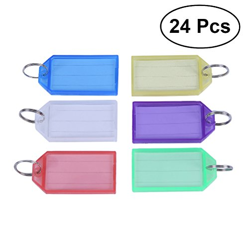 nuolux 24pcs Multi-Color Labels Luggage Tag Plastic Luggage Tags with Key Ring