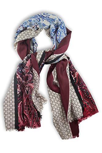 fashionchimp ® Schal für Damen mit elegantem Paisley-Mix-Muster und weichen Fransen (Beere-Bunt)