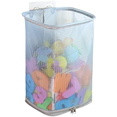 Bath Toy Organizer with Extra-Large Mouth, Bottom Zipper Bathtub Toy Storage Bag, Bathroom Toy Holder (Blue)